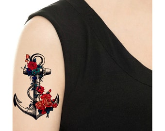 Temporary Tattoo - Flower Anchor - Various Patterns and Sizes / Tattoo Flash