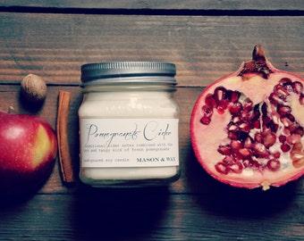 Pomegranate Cider Mason Jar Soy Candle | Phrhalate Free | Gift Ready