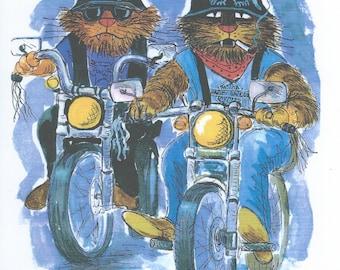 Blank cat card - Hell's Moggies