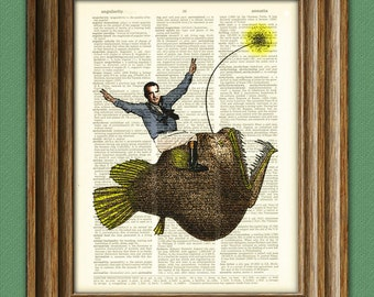 President Richard Nixon riding a monster Angler Fish beautifully upcycled dictionary page book art print