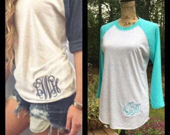 Monogrammed Raglan Baseball Tshirt.    XS, S, M, L, XL, 2X, 3X.  12 colors to choose from. Product NL6051