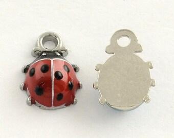 Ladybird Enamel Silver Plated Charms Pendants 9mm x 12mm (001)