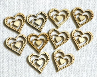 Wood Laser Cutout Hearts, Your Choice of 8 Styles, Confetti, Add to Favors, Frames Scrapbooking Charms Decorate Candles Furniture