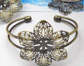 10pcs Floral Blank Bracelet Cuff, bracelet blanks, Bezel Bracelet Blank, Bezel Cuff (3010408)