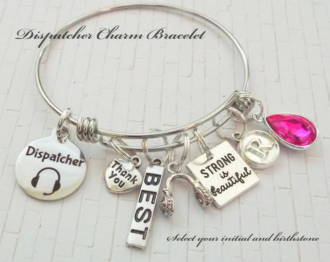 Dispatcher Charm Bracelet, 911 Dispatcher Gift, Gift for Dispatcher, Thank You Gift for 911 Dispatcher, Custom Jewelry Gift, Gift for Her
