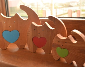 Wooden love cat puzzle - Mother's Day gift - Wooden puzzle cat - Nesting toy - Natural eco friendly - Wooden cat - Stacking toy