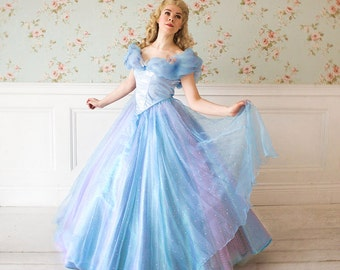 Light version Cinderella dress 2015 (Free Shipping) Halloween costume for  Adult