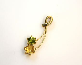 Vintage Estate Jewelry - 10k Yellow Gold Necklace Pendant/Charm with Round Cut Topaz & Peridot Gemstones