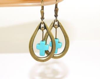 Turquoise Blue Cross Brass Teardrop Earrings, Handmade Jewelry