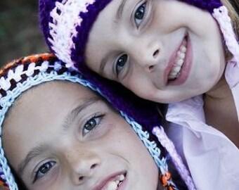 Infant Toddler Child Adult Striped Pom Pom Ear Flap Hat