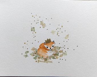 Forest Princess Fox watercolor illustration