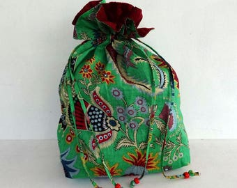 Tote bag Green paisley print cotton with zip ties