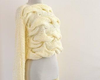 Sweater Cardigan Jacket Tunic Chunky Sweater Hand Knit Ivory Cream
