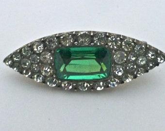 Sterling Silver & Emerald Paste Brooch