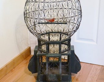 Vintage Balloon Birdcage Wire and Wood 33 Inch Tall Antique Victorian Style Cage French Country Decor Original PanchosPorch