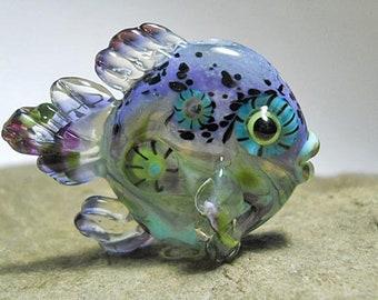 Purple Glass Fish Bead Pendant Necklace, handmade Lampwork glass bead, 'Octopus' Garden' art glass pendant, designer ocean focal bead, SRAJD
