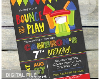 """Bounce and Play Bounce House Birthday Chalkboard Invitation Bouncy House  Inflatable Jump Party  - DIGITAL Printable Invite - 5"""" x 7"""""""