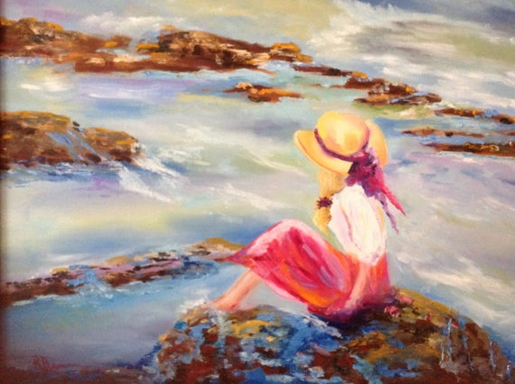 Beach Painting, Girl at the Beach, Water Painting