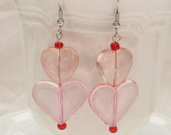 ndb-Pink Translucent Double Heart Dangle Earrings Accented with Red
