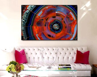 "Acrylic Print - ""The Center of the Earth"" - Geometric Abstract, Contemporary Abstract, Red Blue Wall Decor, Modern Art"