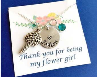 Thank you for being my Flower Girl Necklace, Flower Girl Gift, Flower Girl Necklace,Wedding Necklace, Wedding Jewelry, Wedding Jewelry