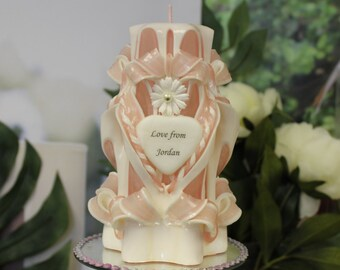Gift for Her - Carved Candle - Personalised Gift -  Unique gift