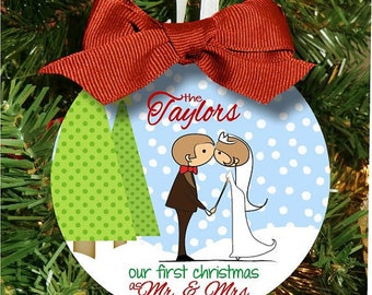 Mr. and Mrs. Christmas Ornament, First Christmas Ornament, Anniversary Ornament, Wedding Ornament, Personalized Ornament, XMas