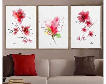 Flower Living Room Art Watercolor Flower Decor Print Living Room Decor Pink Flower Wall Art Decor Set 3 Flower Art Print Gift