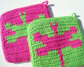 Bright Pink and Green Dragonfly Potholders from Hoooked - MADE TO ORDER
