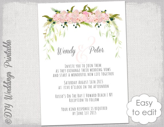 Wedding Invitation Template Printable Wedding Invitations - Printable wedding invitation templates