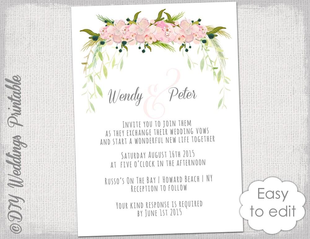 Wedding invitation template printable wedding invitations zoom stopboris Image collections