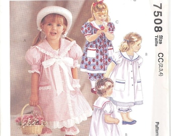McCall's 7508 Toddlers, Girls Dress and Pantaloons   Size 2-3-4  Uncut New