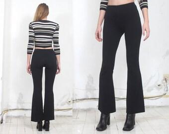 90s black minimal bell bottom pants s