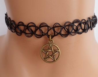 tattoo choker, pentagram choker, pentagram necklace