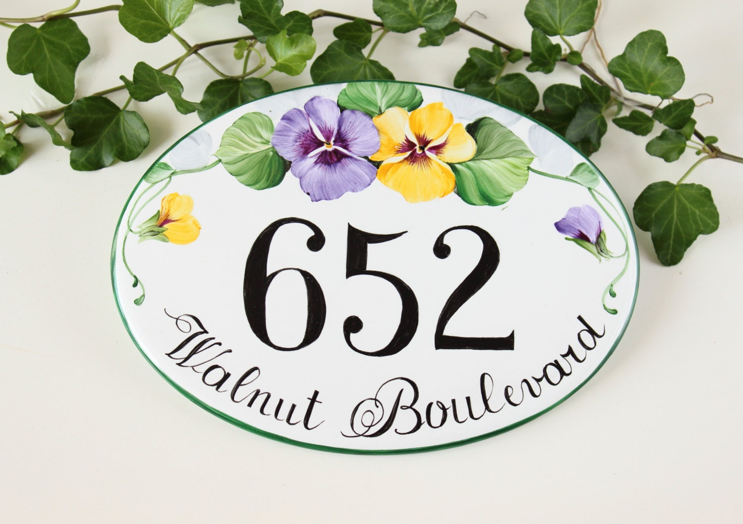 Pansies house name plaque house number plaque house numbers zoom dailygadgetfo Gallery