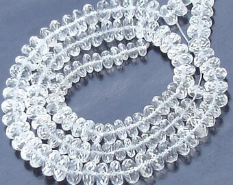 New Arrival,Half Strand, WHITE TOPAZ MICRO Faceted Rondells, Flawless White Topaz , 25 pieces of aprx. size of 6-7mm.
