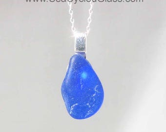 Shoreline Pendant - Cobalt blue sea glass from Sydney, Cape Breton, Nova Scotia, Canada mounted on 925 Sterling silver bail with chain