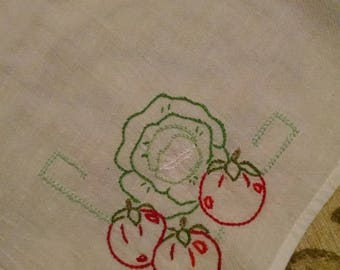 Vintage cotton dishtowel with embroidery