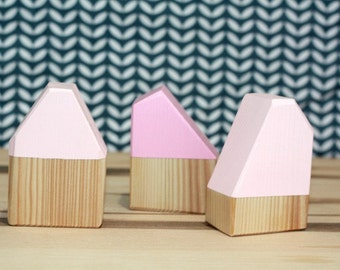 Upsized Minimalist Block Houses - Shades of Pink - Natural Wood - Girly Blocks - Pretend Play - Nursery and Big Girl Room Play and Display