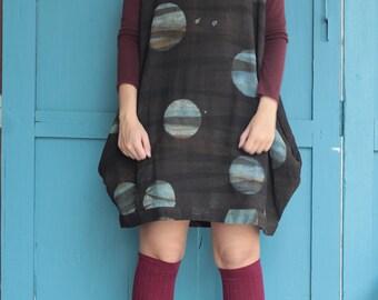 Shibori  dress turtle neck...  Natural dye 100% cotton (one size fit from M-XL)