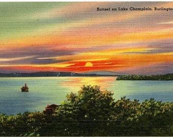 Lot of Five Vintage Linen Postcards - Sunset on Lake Champlain Burlington, Vermont - MINT NOS