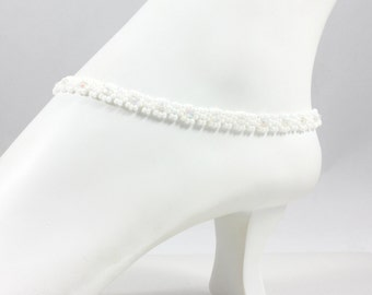 White Bead Anklet - Chain Anklet Bracelet - Handmade Jewelry - Beach Anklet - Summer Jewelry - Seed Bead Anklet - Foot Jewelry