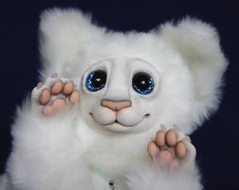 Big cat Kay, poseable art doll, fantasy creature, OOAK handmade creature, stuffed animal, handmade poseable animals