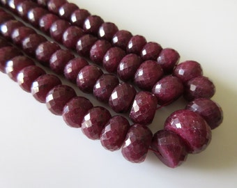 Ruby Bead Necklace, Natural Ruby Faceted Rondelle Beads, 10mm To 13mm Beads, 18 Inch Strand, GDS101