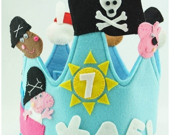 Crown-Peppa Pig-Pirates-Birthday-Girls-Kids-Children's Party-Peppa Pig Pirate-Gift-Decoration-Crown Peppa Pig-Crown Personalized