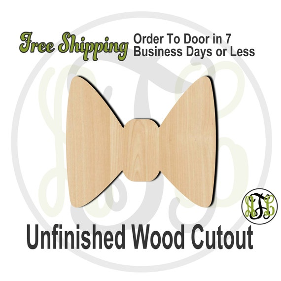 "Bow Tie- 2"" to 6"" Minis- 10002- Small Wood Cutout, unfinished, wood cutout, wood craft, laser cut shape, wood cut out, ornament"