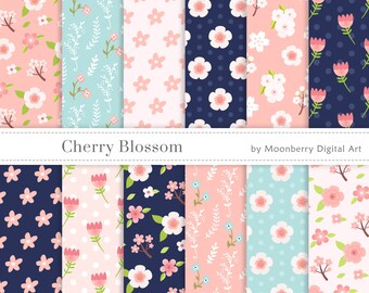 Floral Digital Papers - CHERRY BLOSSOM PAPERS -  Floral Papers, Commercial Use Digital Papers, Flowers Digital Papers,  Scrapbook Paper