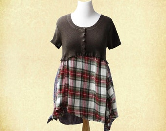 Sweater and Flannel Tunic Dress Mori Girl Boho Chic Junk Gypsy Upcycled Clothing