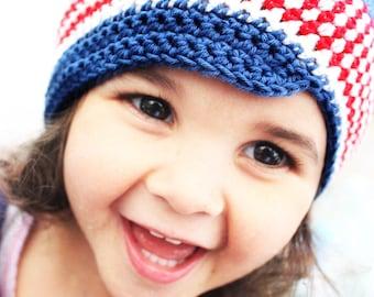 6 to 12m Cotton Baby Hat Baby Newsboy Hat 4th July Stripe Hat Baby Cotton Hat - Crochet Baby Beanie Red White Blue Photo Prop