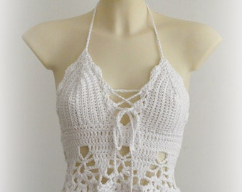 White halter top - beautiful white top, sexy crochet top bra, hippie white top, summer festival crochet tank